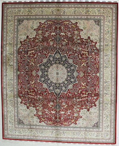 Red Hereke Rug #494 • 8′0″ x 10′0″ • 100% Silk