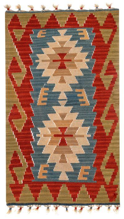 Blue Kilim Rug #465 • 1′10″ x 3′2″ • 100% Wool