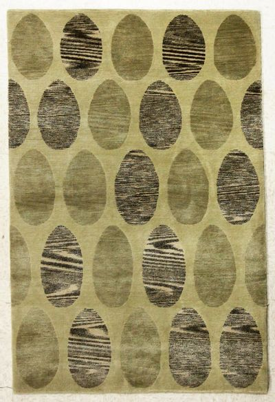 Green Modern Rug #7619 • 4′1″ x 6′2″ • Wool on Silk