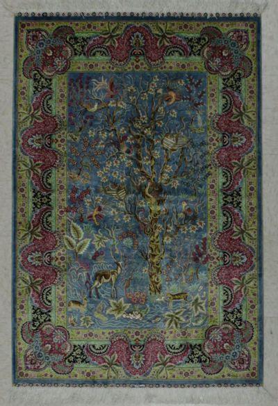 LT BLUE Cezaevi Rug #7847 • 3′0″ x 4′5″ • 100% Silk