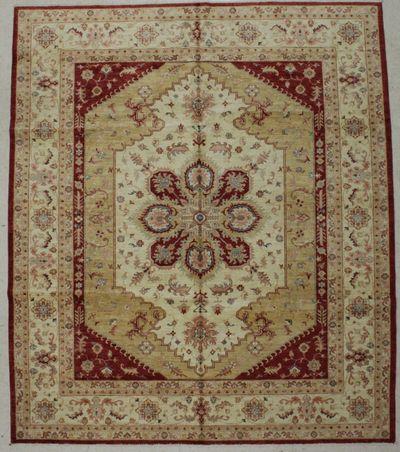Red Ushak Rug #8802 • 8′3″ x 9′6″ • 100% Wool