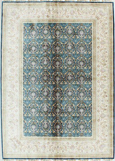 Blue Cezaevi Rug #1145 • 5′7″ x 7′9″ • 100% Silk