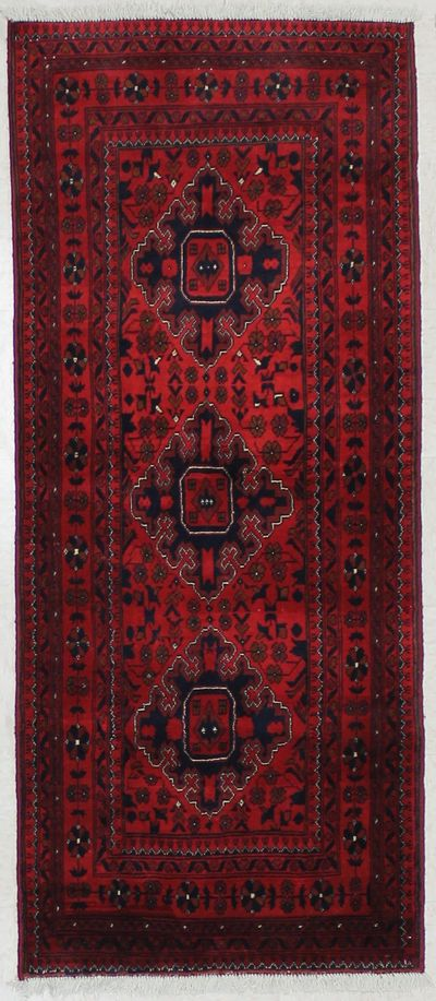Red Kunduz Rug #1597 • 2′9″ x 6′6″ • 100% Wool