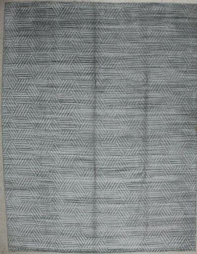 Ivory Modern Rug #7553 • 9′0″ x 11′9″ • Wool on Cotton
