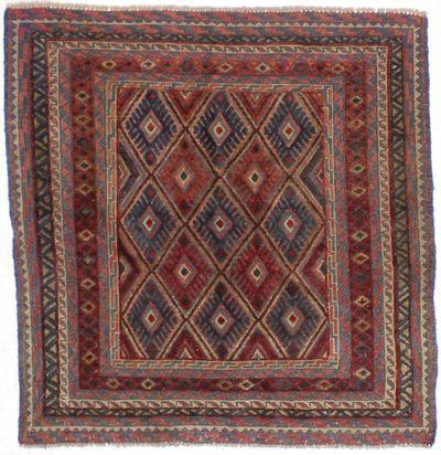 Black Musmani Rug #1609 • 3′10″ x 4′0″ • 100% Wool
