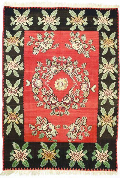 Red Kilim Rug #645 • 7′9″ x 10′11″ • 100% Wool