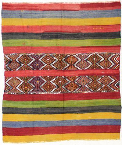 Multicolor Kilim Rug #1697 • 5′1″ x 6′1″ • 100% Wool