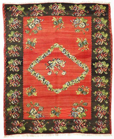 Red Kilim Rug #650 • 8′6″ x 10′4″ • 100% Wool