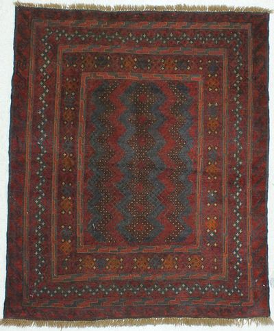Red Beluch Rug #450 • 4′4″ x 5′2″ • 100% Wool