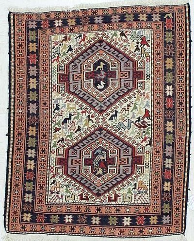 Ivory Kilim Rug #429 • 2′7″ x 3′4″ • 100% Wool