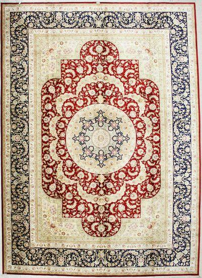 Red Cezaevi Rug #2571 • 9′1″ x 12′7″ • 100% Silk