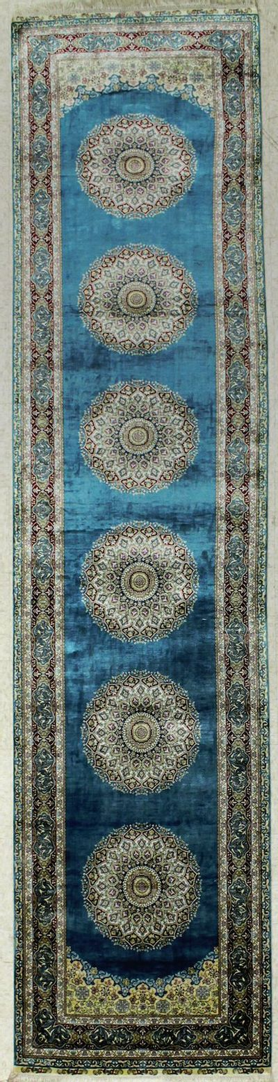 Light Blue Cezaevi Rug #8165 • 2′10″ x 12′0″ • 100% Silk