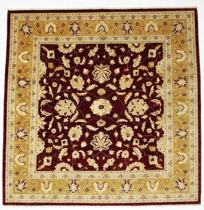 Red Ushak Rug #220 • 8′10″ x 8′10″ • Wool on Cotton