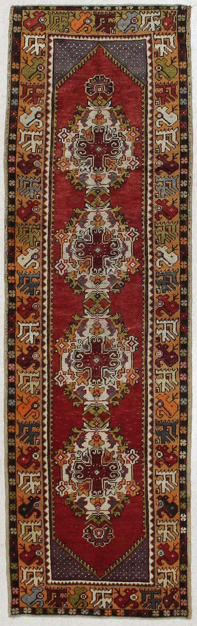 Red Konya Rug #2664 • 2′11″ x 9′9″ • 100% Wool
