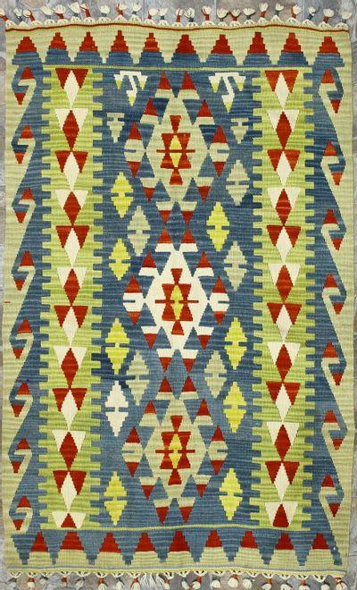 Multicolor Kilim Rug #873 • 4′1″ x 6′1″ • 100% Wool