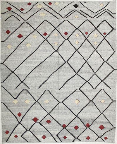 Gray Kilim Rug #7211 • 9′8″ x 11′9″ • 100% Wool
