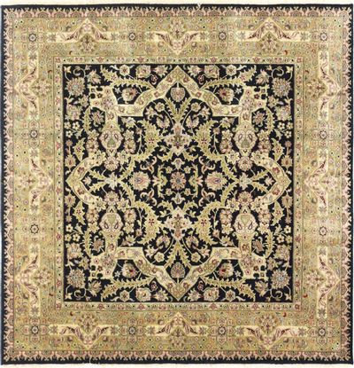 Black Tabriz Rug #6703 • 5′2″ x 5′1″ • 100% Wool