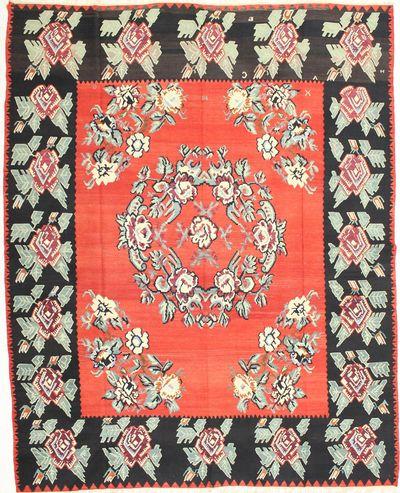 Red Kilim Rug #2087 • 8′10″ x 11′2″ • 100% Wool