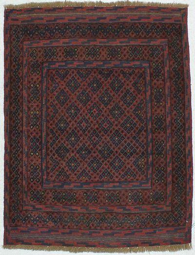 Red Beluch Rug #454 • 3′8″ x 4′9″ • 100% Wool