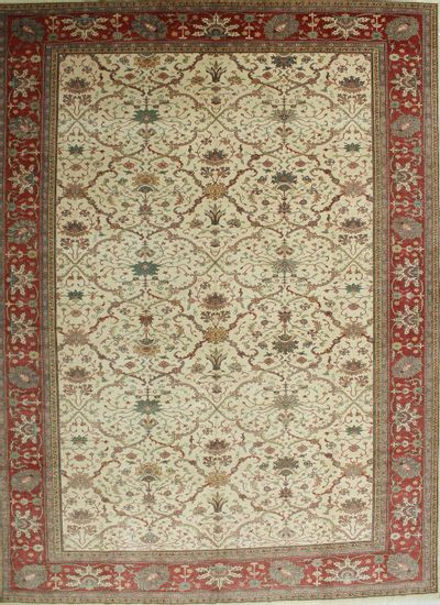 Ivory Sivas Rug #590 • 10′8″ x 14′0″ • 100% Wool