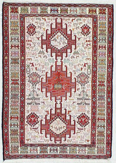 Ivory Sumak Rug #461 • 3′4″ x 4′9″ • 100% Wool