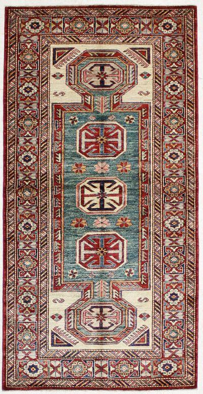 Green Kazak Rug #1420 • 3′5″ x 6′10″ • Wool on Cotton