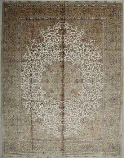 Ivory Cezaevi Rug #7536 • 9′1″ x 12′2″ • 100% Silk