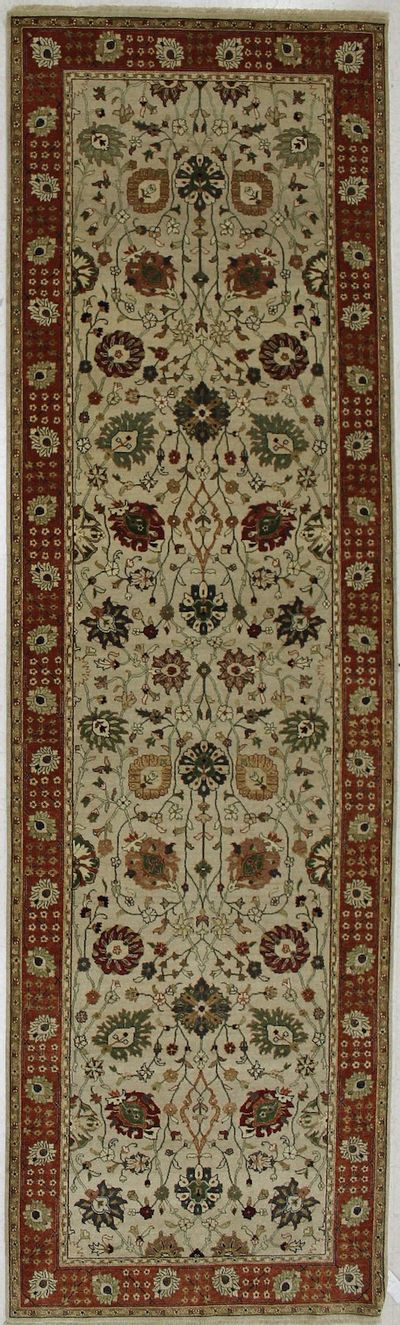 Off White Tabriz Rug #2314 • 4′1″ x 13′11″ • 100% Wool