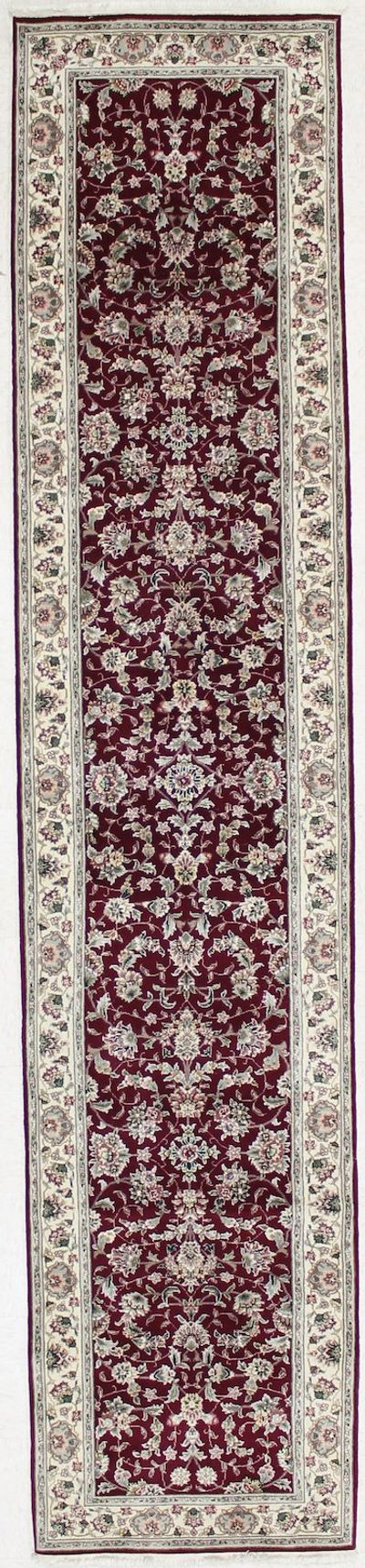 BURGUNDY Royal Flower Rug #1756 • 2′7″ x 12′4″ • 100% Wool