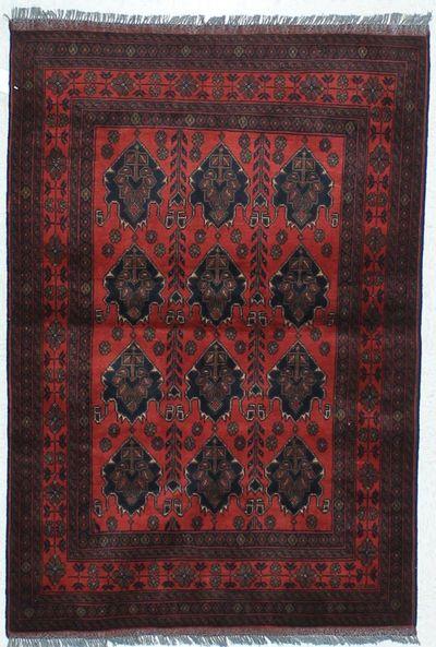 Red Kunduz Rug #456 • 3′5″ x 4′11″ • 100% Wool