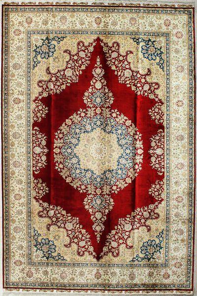 Red Cezaevi Rug #2469 • 7′6″ x 9′10″ • 100% Silk