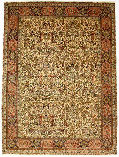 Ivory Tabriz Rug #713 • 9′0″ x 12′1″ • 100% Wool