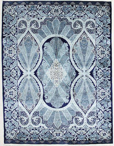 NAVY Hereke Rug #2376 • 5′3″ x 6′11″ • 100% Silk