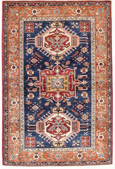 NAVY Kazak Rug #6758 • 4′1″ x 6′0″ • 100% Wool