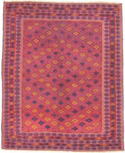 Red Musmani Rug #1770 • 5′2″ x 6′4″ • 100% Wool