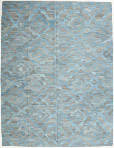 Light Blue Modern Rug #1999 • 9′9″ x 11′0″ • 100% Wool