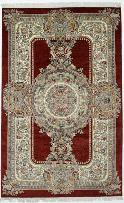 Red Tabriz Rug #240 • 6′0″ x 9′7″ • Wool on Cotton