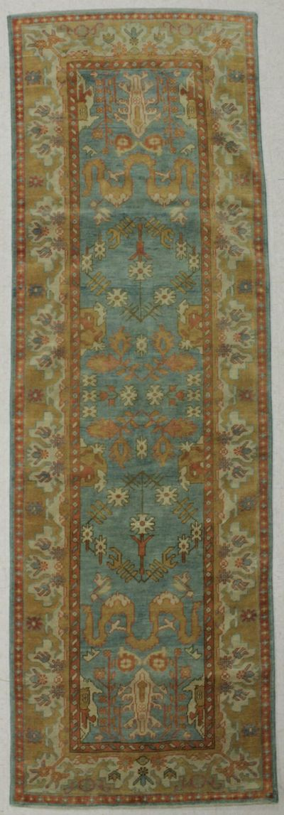 Light Blue Ushak Rug #8340 • 3′10″ x 11′11″ • 100% Wool