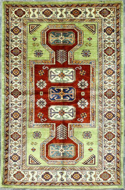 Light Green Kazak Rug #1236 • 3′11″ x 6′1″ • 100% Wool