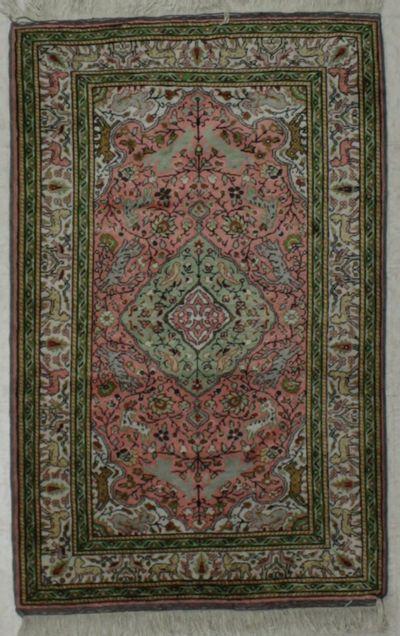 PINK Kayseri Rug #8617 • 2′11″ x 4′6″ • Silk on Cotton