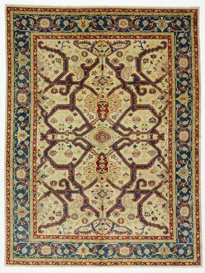 Ivory Ushak Rug #8049 • 5′10″ x 7′10″ • 100% Silk