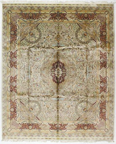 Ivory Cezaevi Rug #7443 • 8′2″ x 10′0″ • 100% Silk