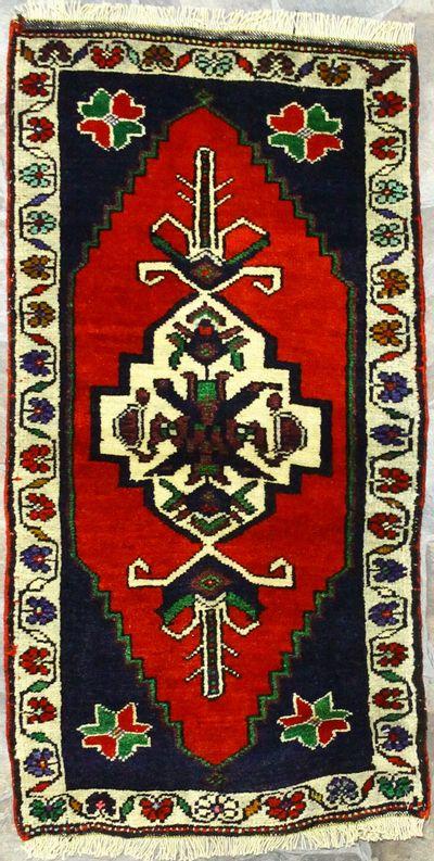Red Konya Rug #900 • 1′10″ x 3′6″ • 100% Wool