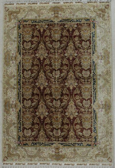 Red Cezaevi Rug #8636 • 5′5″ x 8′0″ • 100% Silk