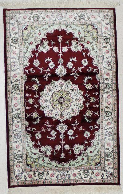 BURGUNDY SILK Rug #1603 • 3′1″ x 4′10″ • 100% Silk