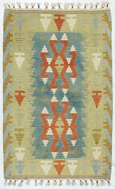 Blue Kilim Rug #459 • 2′7″ x 4′1″ • 100% Wool